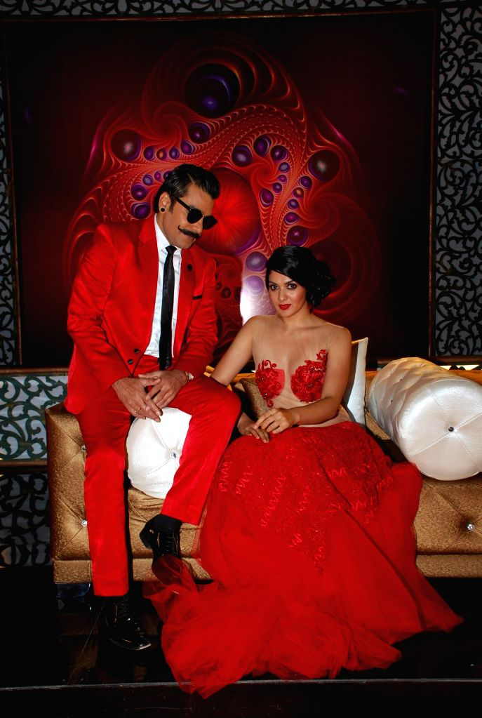 Actor Ashutosh Rana and South actress Sakshi on location of Ismail Darbar`s directorial debut at Filmalaya in Mumbai on Feb 24, 2015. - Ashutosh Rana