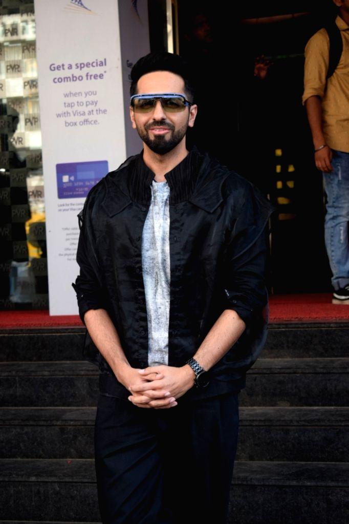 :Mumbai: Actor Ayushmann Khurrana seen outside a Mumbai cinema hall on Oct 19, 2018. (Photo: IANS).