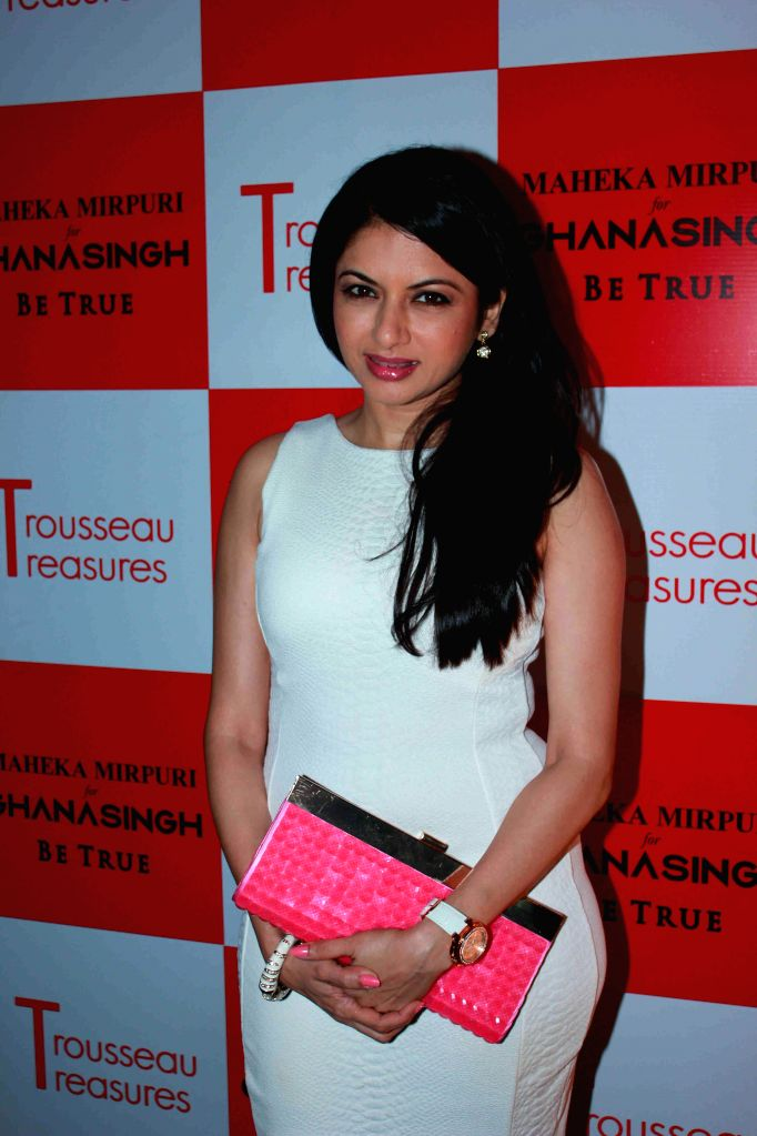 Actor Bhagyashree Patwardhan during the unveiling of latest Trousseau Treasures collection by Maheka Mirpuri at Ghanasingh Be True Store in Mumbai, on Feb 11, 2015. - Bhagyashree Patwardhan