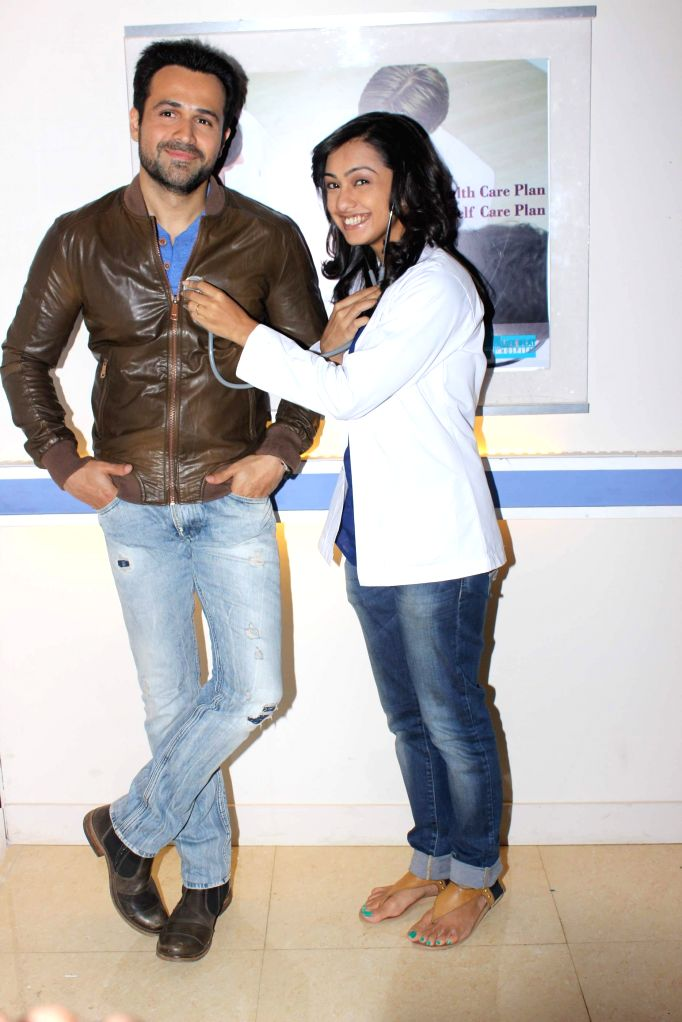 Actor Emraan Hashmi and television actress Abigail Jain during the shooting of Bindass show Zindagi Wins for the promotion of Hashmi's upcoming movie Mr. X, in Mumbai on April 2, 2015. - Abigail Jain
