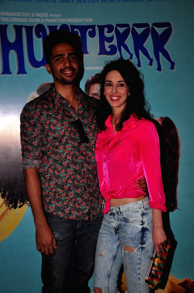 Actor Gulshan Devaiya with his wife during the trailer launch of upcoming film 'Hunterrr' in Mumbai, on Jan. 15, 2015. - Gulshan Devaiya