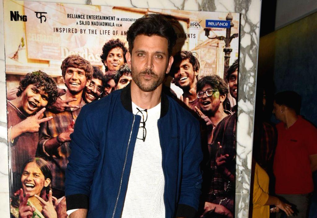 "Mumbai: Actor Hrithik Roshan at the screening of his upcoming film ""Super 30"" in Mumbai, on July 10, 2019. (Photo: IANS) - Hrithik Roshan"