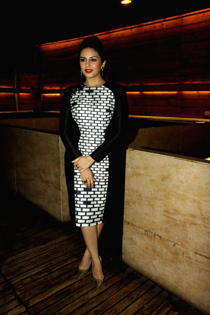 Actor Huma Qureshi during the cover launch of Cine Blitz magazine's January issue, in Mumbai, on Jan. 11, 2015.
