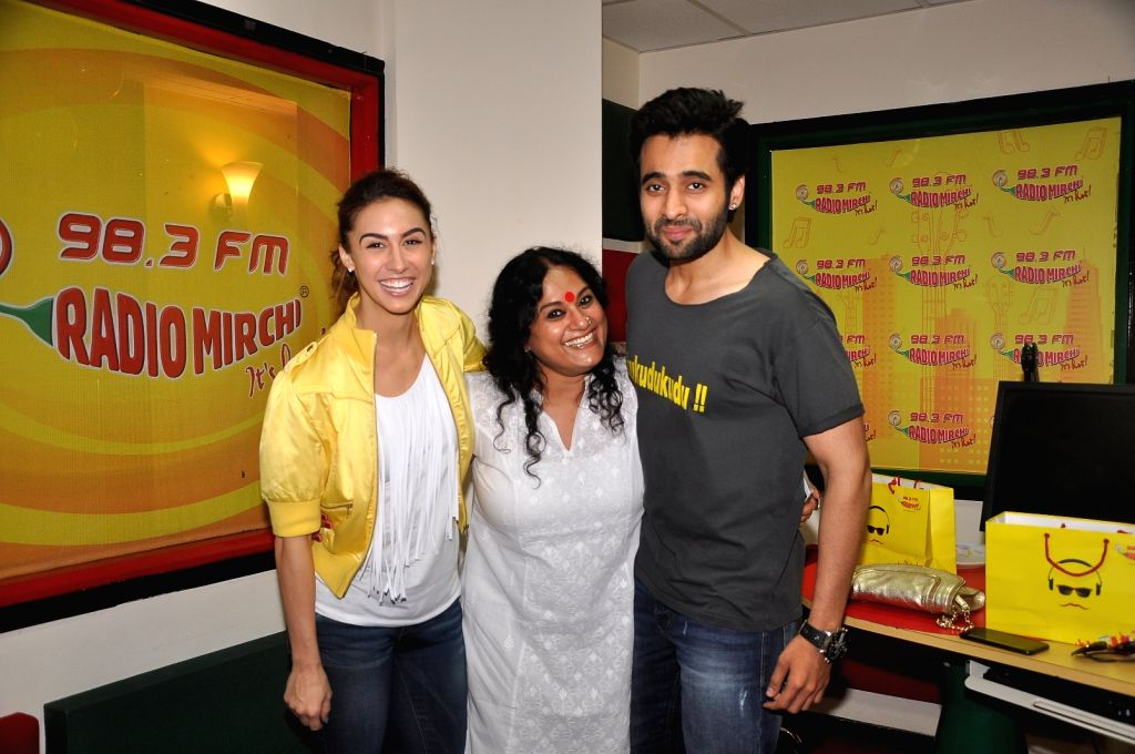 Actor Jackky Bhagnani and actress Lauren Gottlieb  with RJ Prackriti during a promotion event of their upcoming film Welcome to Karachi in Mumba, on April 27, 2015. - Jackky Bhagnani