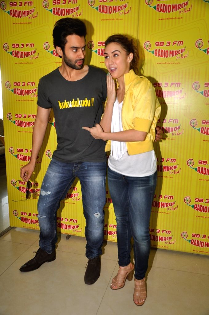 Actor Jackky Bhagnani and actress Lauren Gottlieb during a promotion event of their upcoming film Welcome to Karachi in Mumba, on April 27, 2015. - Jackky Bhagnani