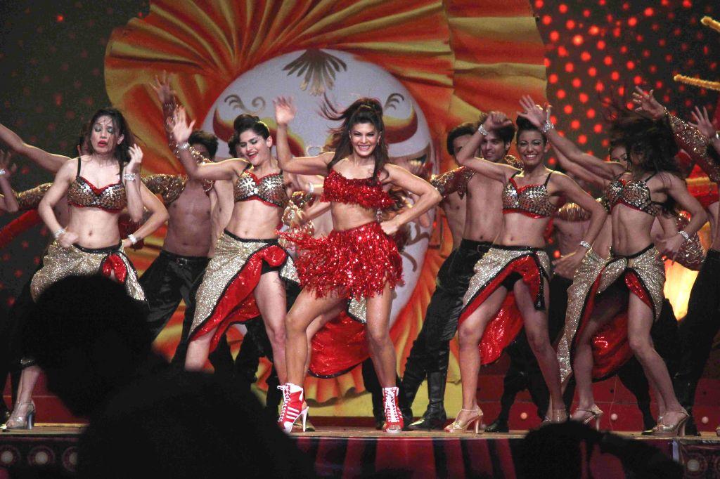 Actor Jacqueline Fernandez performs during television show Got Talent World Stage Live in Mumbai on Dec 6, 2014. - Jacqueline Fernandez