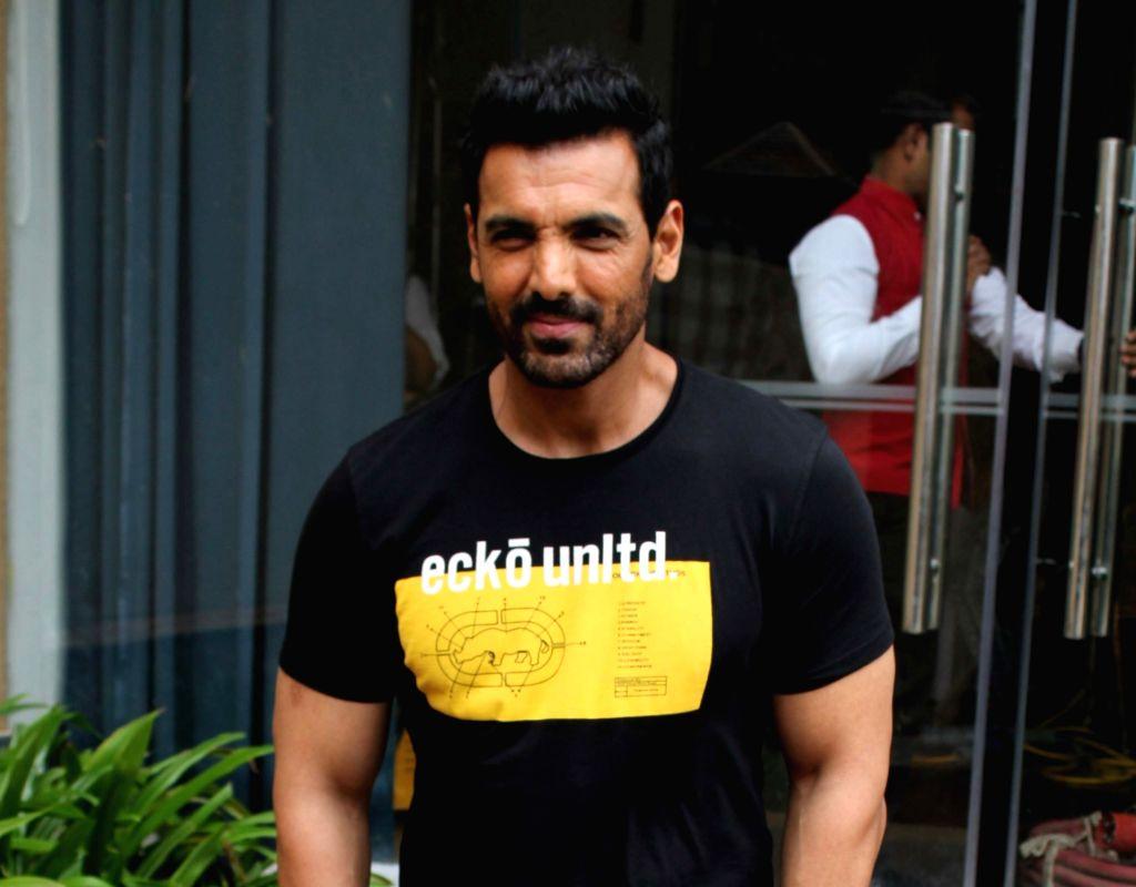 "Mumbai: Actor John Abraham during the promotions of his upcoming film ""Batla House"" in Mumbai on Aug 6, 2019. (Photo: IANS) - John Abraham"