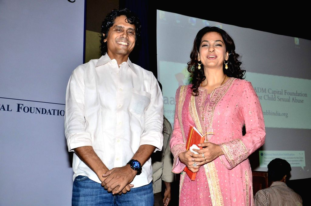 Actor Juhi Chawla and filmmaker Nagesh Kukunoor during the launch of portal against Child Sexual Abuse (CSA) in Mumbai, on Nov 18, 2014.