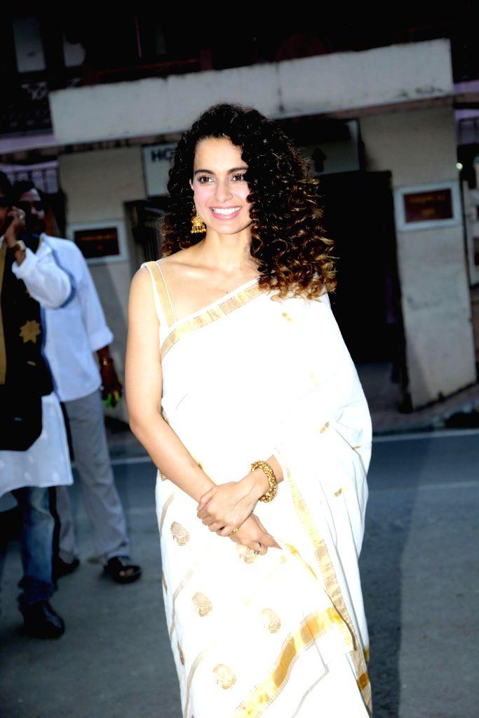 Actor Kangna Ranaut during her visit to Ramakrishna Mission in Mumbai, on Jan. 12, 2015.