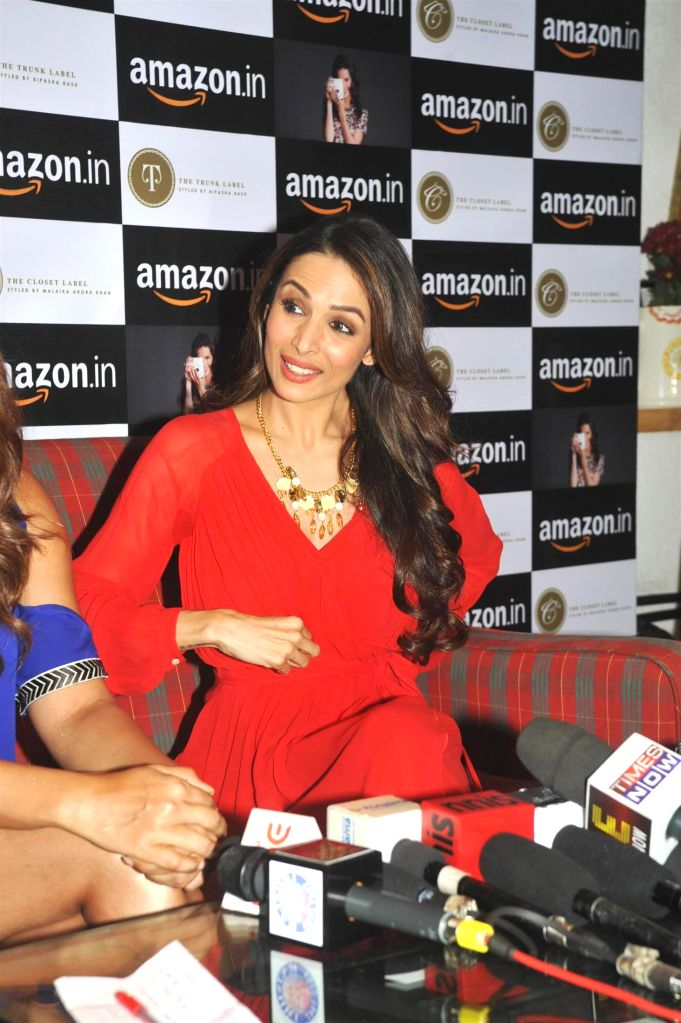 Actor Malaika Arora Khan during the announcement of partnership between Amazon.in and The Label Corp in Mumbai, on Nov 19, 2014. - Malaika Arora Khan