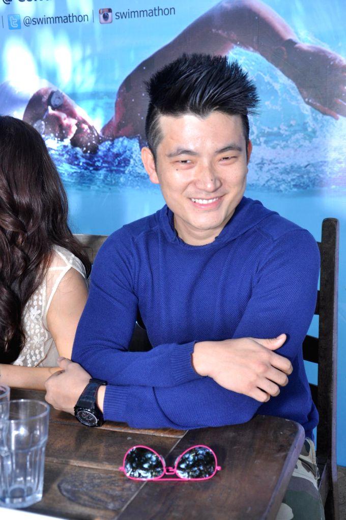 Actor Meiyang Chang at Swimmathon 2015 press conference in Mumbai on Feb 17, 2015. (Photo : IANS)