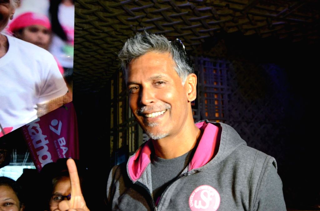 Mumbai: Actor, model and Pinkathon founder Milind Soman at a press conference to announce the 7th edition of Pinkathon, in Mumbai on Nov 13, 2018. (Photo: IANS)