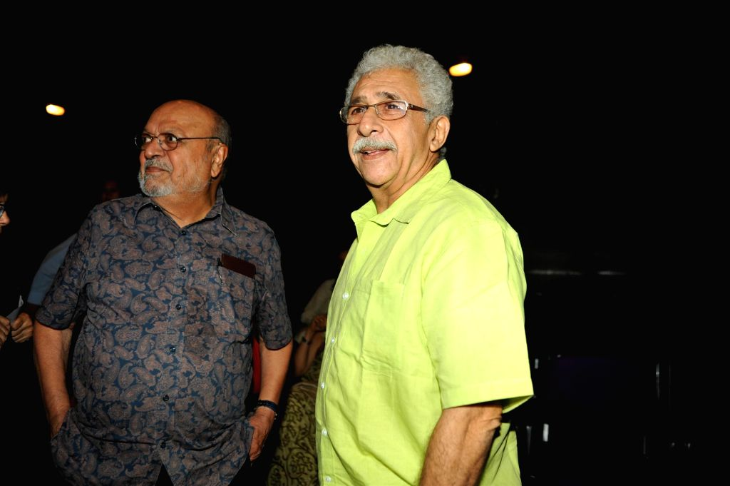 Actor Naseeruddin Shah and filmmaker Shyam Benegal during the launch of his book 'And Then One Day: A Memoir' in Mumbai on Nov 26, 2014. - Naseeruddin Shah