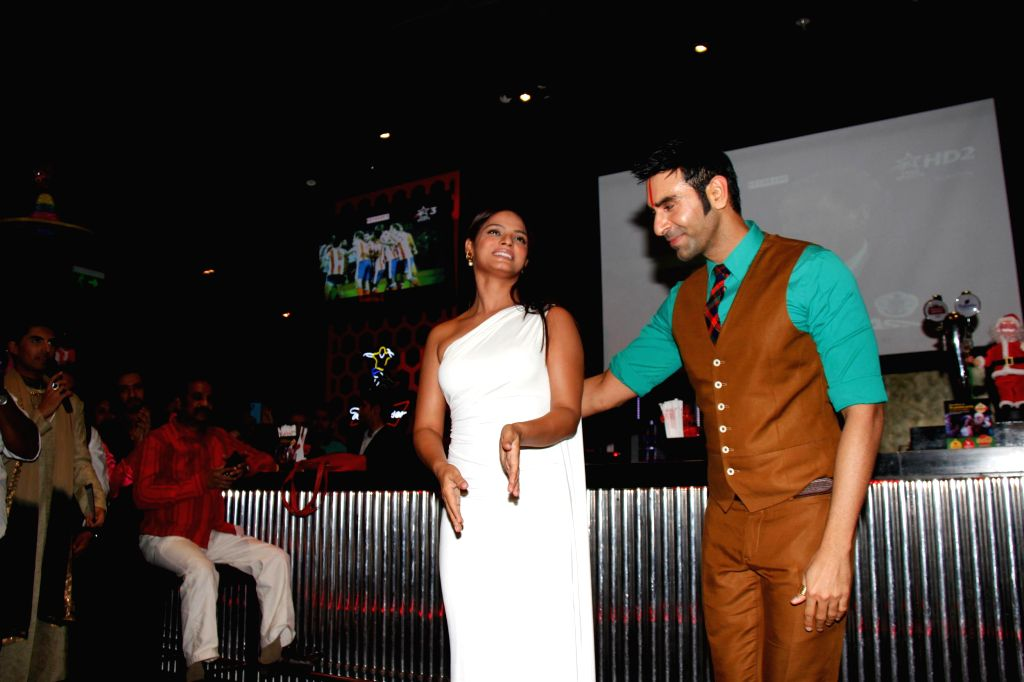 Actor Neetu Chandra during Choreographer Sandip Soparkar`s Christmas party and National Achievement Award celebration in Mumbai, on Dec. 22, 2014. - Neetu Chandra