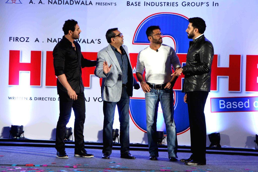 Actor Paresh Rawal,Abhishek Bachchan,John Abraham and Sunil Shetty during during unveiling of the starcast of film Hera Pheri 3, in Mumbai, on Jan. 12, 2015. - Paresh Rawal, John Abraham, Abhishek Bachchan and Sunil Shetty