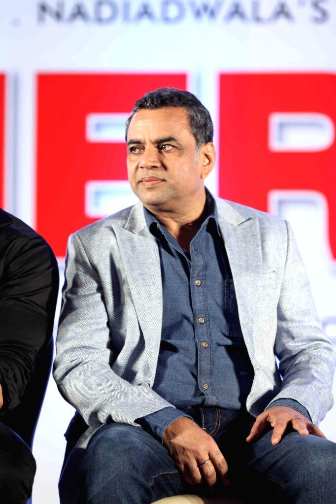 Actor Paresh Rawal during unveiling of the starcast of film Hera Pheri 3, in Mumbai, on Jan. 12, 2015. - Paresh Rawal
