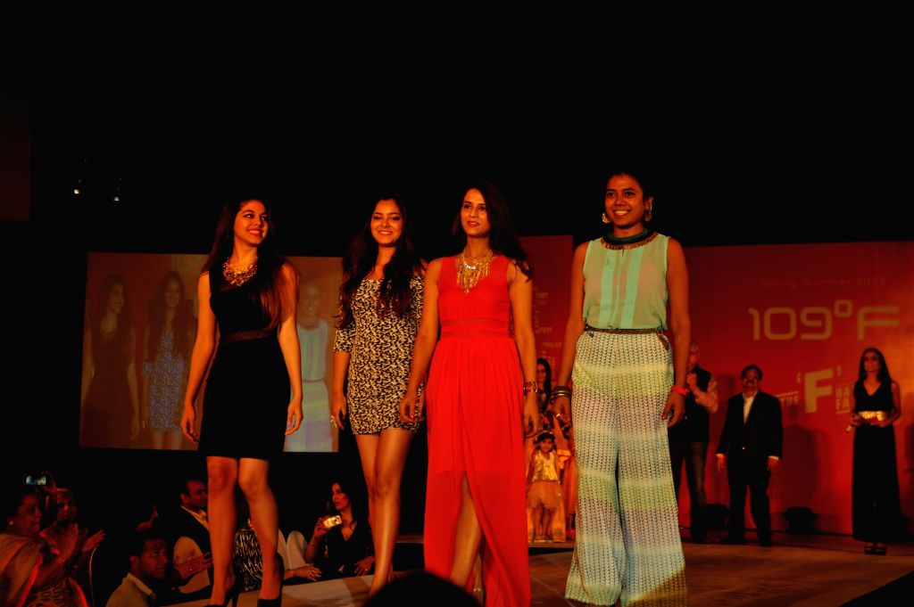 Actor Pooja Bedi`s daughter Alia Furniturewalla, Singer Shradha Sharma, Chef Shipra Khanna and Mountaineer Krishna Patil during the 109F, fashion show and felicitation of young women ... - Pooja Bedi, Shradha Sharma, Shipra Khanna and Krishna Patil