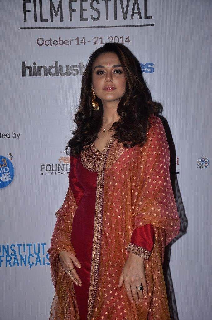 Actor Preity Zinta during the 5th day of 16th Mumbai Film Festival in Mumbai on Oct. 17, 2014. - Preity Zinta