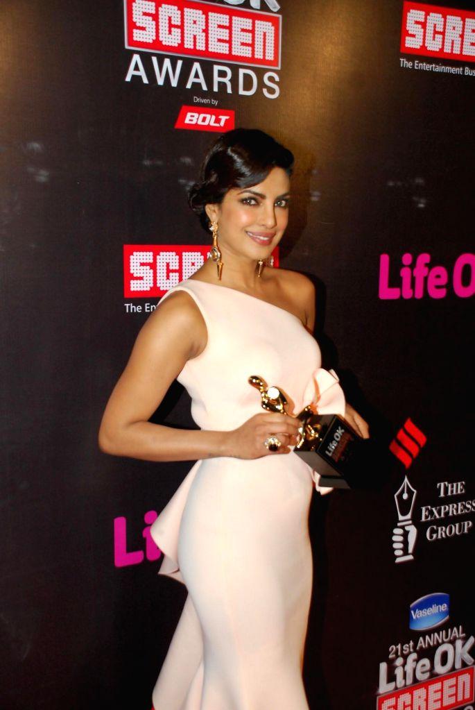 Actor Priyanka Chopra during the 21st Annual Life OK Screen Awards in Mumbai on Jan. 14, 2015. - Priyanka Chopra