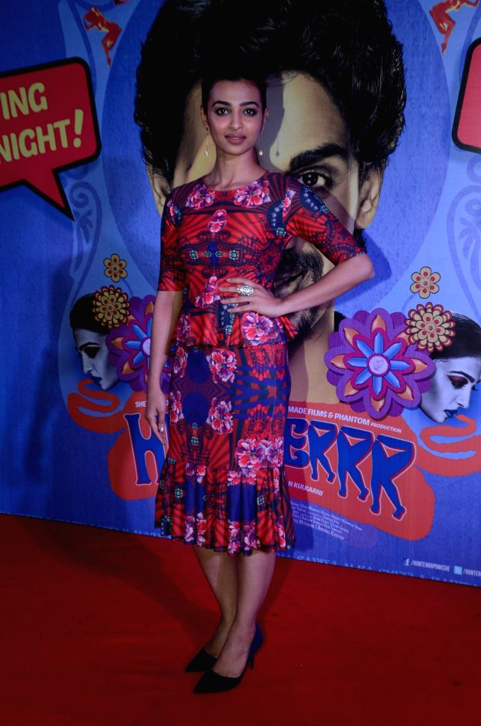 Actor Radhika Apte during the premiere of film Hunterrr in Mumbai on March 17, 2015. - Radhika Apte