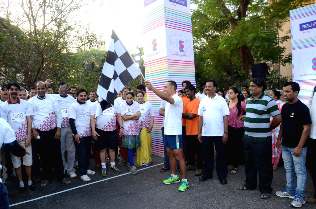Actor Rahul Bose flag off the 4.5 kms runathon organised by Reliance Energy in Mumbai, on Feb 22, 2015.
