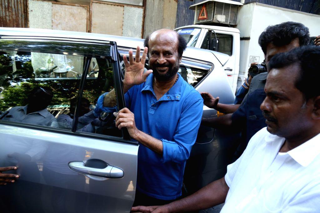 Mumbai: Actor Rajinikanth seen at Mumbai's Bandra, on April 22, 2019. (Photo: IANS) - Rajinikanth