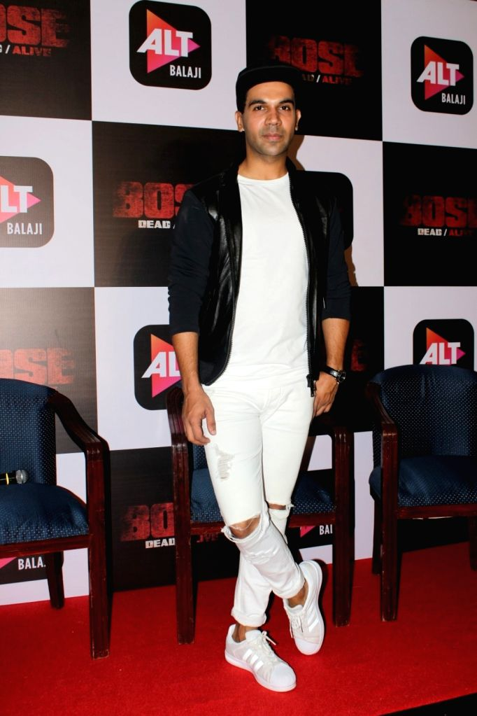 "Mumbai:Actor Rajkummar Rao during the trailer launch of upcoming web-series ""Bose: Dead/Alive"" in Mumbai on Aug 18, 2017. - Rajkummar Rao"