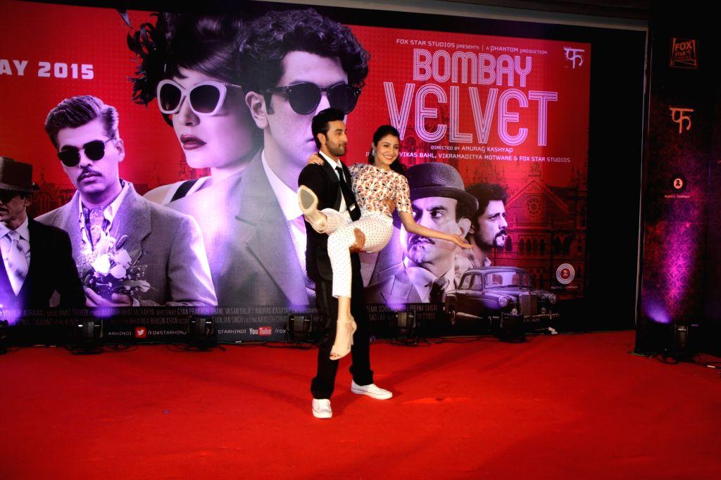 Actor Ranbir Kapoor and actress Anushka Sharma during the trailer launch of film Bombay Velvet in Mumbai, on April 27, 2015. - Ranbir Kapoor and Anushka Sharma