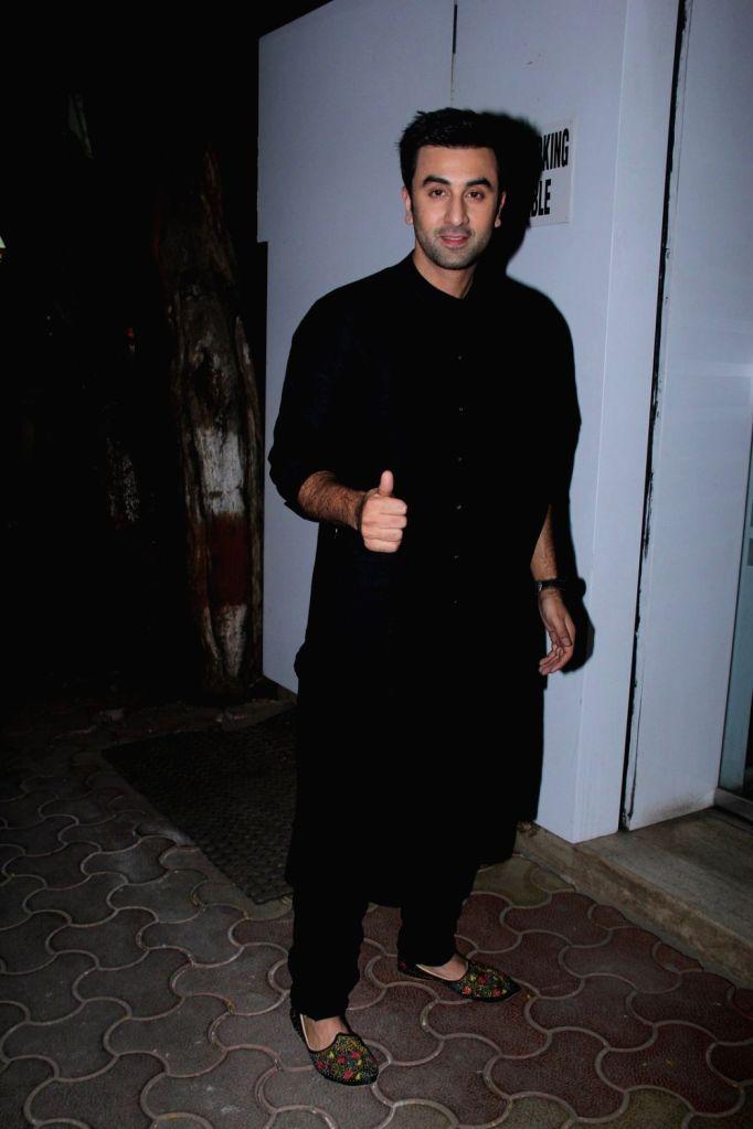 :Mumbai: Actor Ranbir Kapoor during a Diwali dinner Party in Mumbai, on Nov 7, 2015. (Photo: IANS). - Deepika Padukone