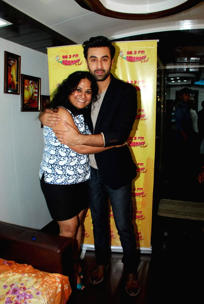 Actor Ranbir Kapoor with RJ Prackriti at film Bombay Velvet promotion at Radio Mirchi FM Studios in Mumbai on Wednesday, April 15th, 2015.