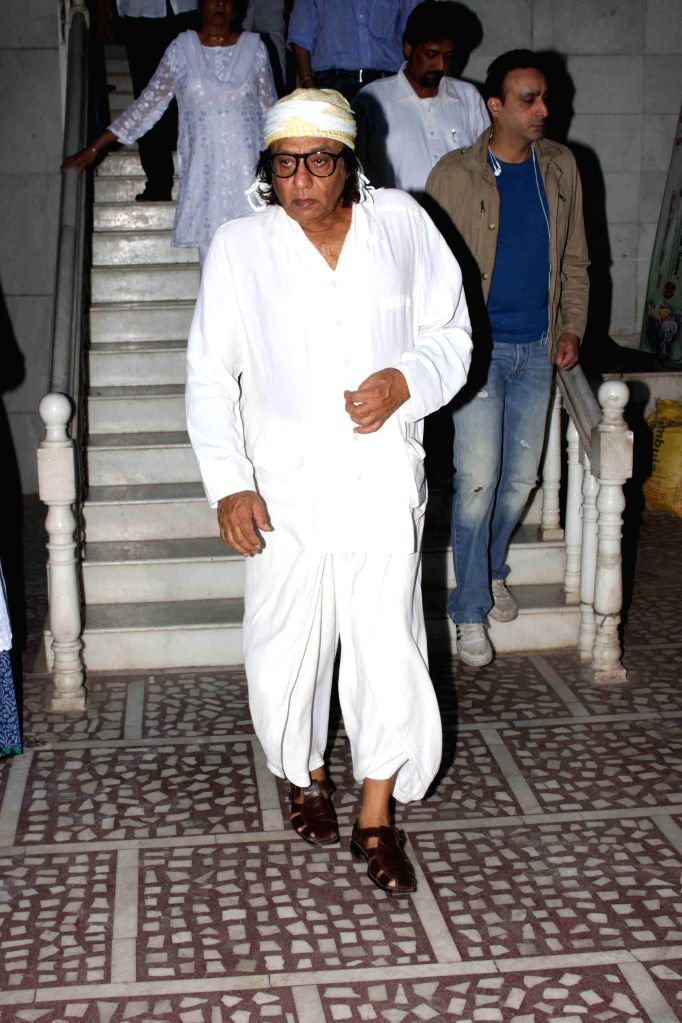 Actor Ranjeet during the condolence meeting of Amit Mehra, son of filmmaker Prakash Mehra, in Mumbai on March 3, 2015. - Ranjeet