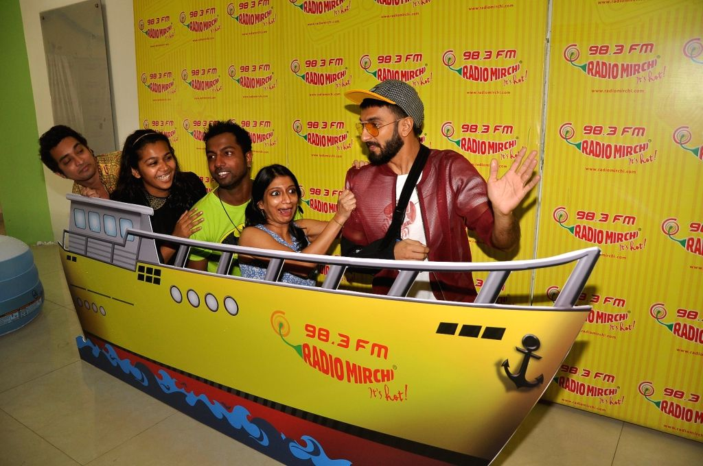 Actor Ranveer Singh promotes film Dil Dhadakne Do at Radio Mirchi FM studios in Mumbai 1st May 2015 - Ranveer Singh