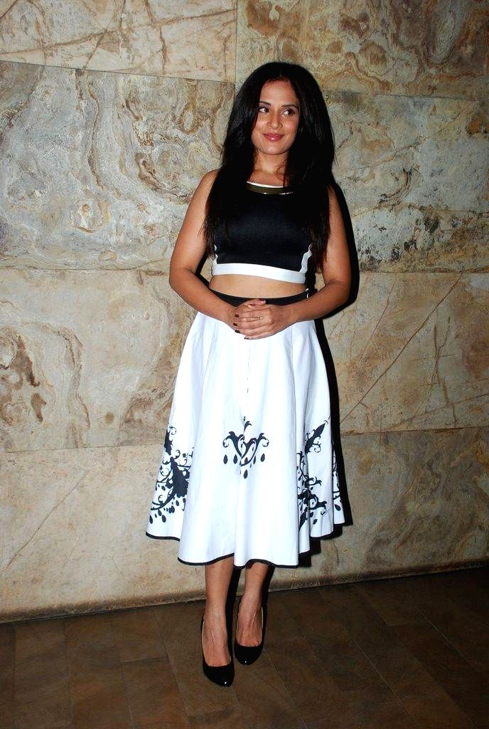 Actor Richa Chadda during the screening of Brad Pitt`s Hollywood film Fury in Mumbai on Oct. 18, 2014. - Richa Chadda