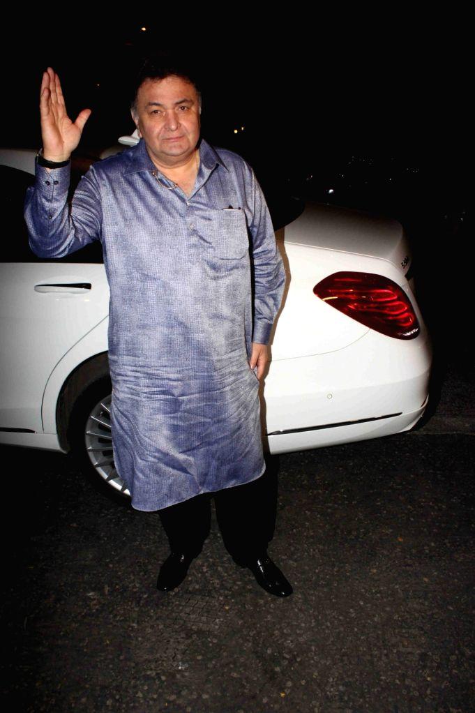 :Mumbai: Actor Rishi Kapoor arrives to attend Ekta Kapoor`s Diwali party in Mumbai on Nov 10,2015. (Photo: IANS). - Narendra Modi