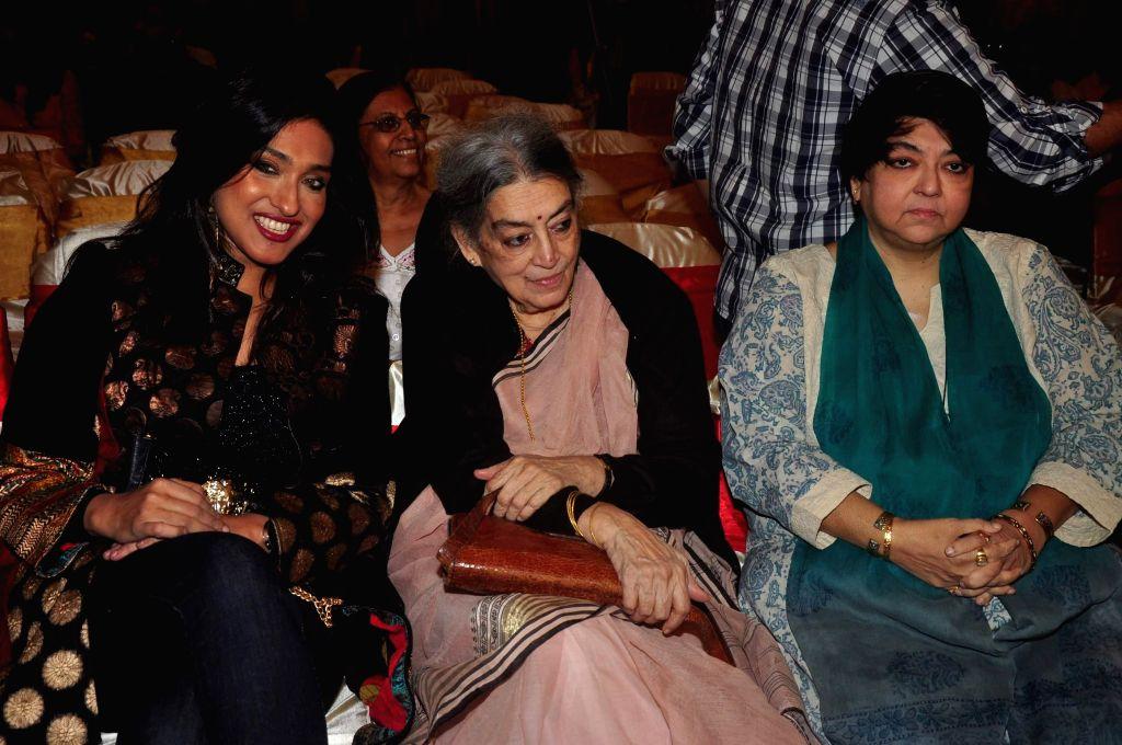 Actor Rituparna Sengupta, artist Lalita Lajmi and filmmaker Kalpana Lajmi during the music launch of film Extraordinaari in Mumbai on Dec 30, 2014. - Rituparna Sengupta