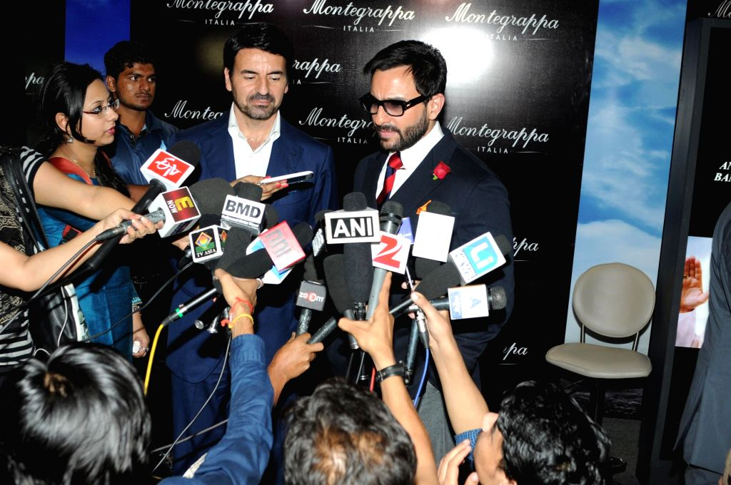 Actor Saif Ali Khan and and Giuseppe Aquila, CEO, Elmo & Montegrappa, S.p.A during the launch of Montegrappa Italy luxury brand, in Mumbai, on April 20, 2015.
