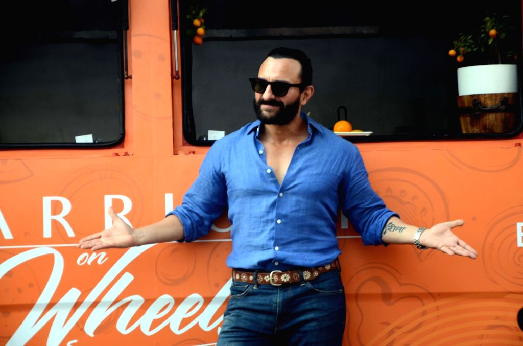 """Mumbai: Actor Saif Ali Khan at the launch of """"Marriott On Wheels"""" food truck at a Juhu hotel in Mumbai, on April 4, 2019. (Photo: IANS) - Saif Ali Khan"""