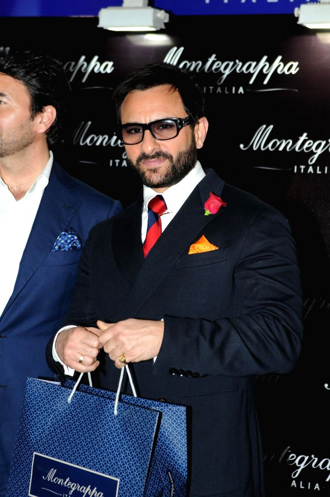 Actor Saif Ali Khan during the launch of Montegrappa Italy luxury brand, in Mumbai, on April 20, 2015.