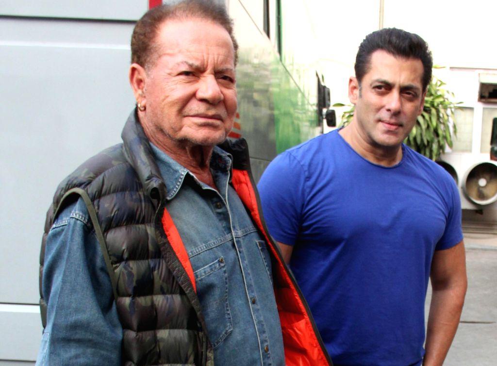 "Mumbai: Actor Salman Khan with his father and scriptwriter Salim Khan during the promotions of his upcoming film ""Bharat"" at Mehboob Studio in Mumbai, on May 31, 2019. (Photo: IANS) - Salman Khan"