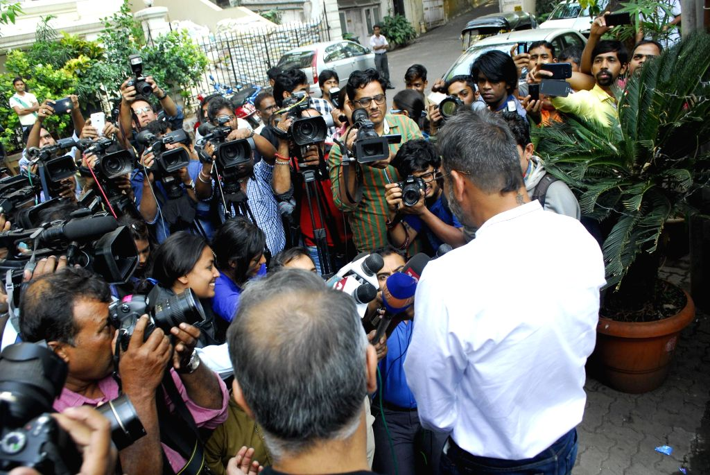 Actor Sanjay Dutt arrives at his residence after being released on 14 days furlough from Pune's Yerwada Jail in Mumbai,  on Dec. 24, 2014.