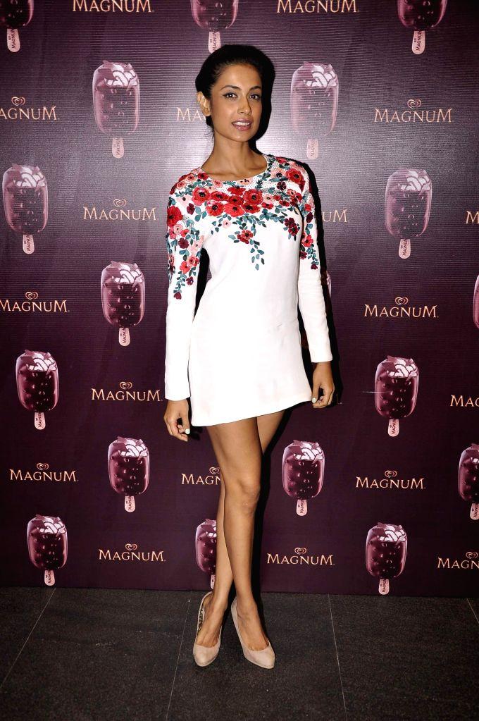 Actor Sarah Jane Dias during the launch of a new Choco Cappuccino flavour of HUL`s Magnum Icecream in Mumbai on Feb 22, 2015. - Sarah Jane Dias
