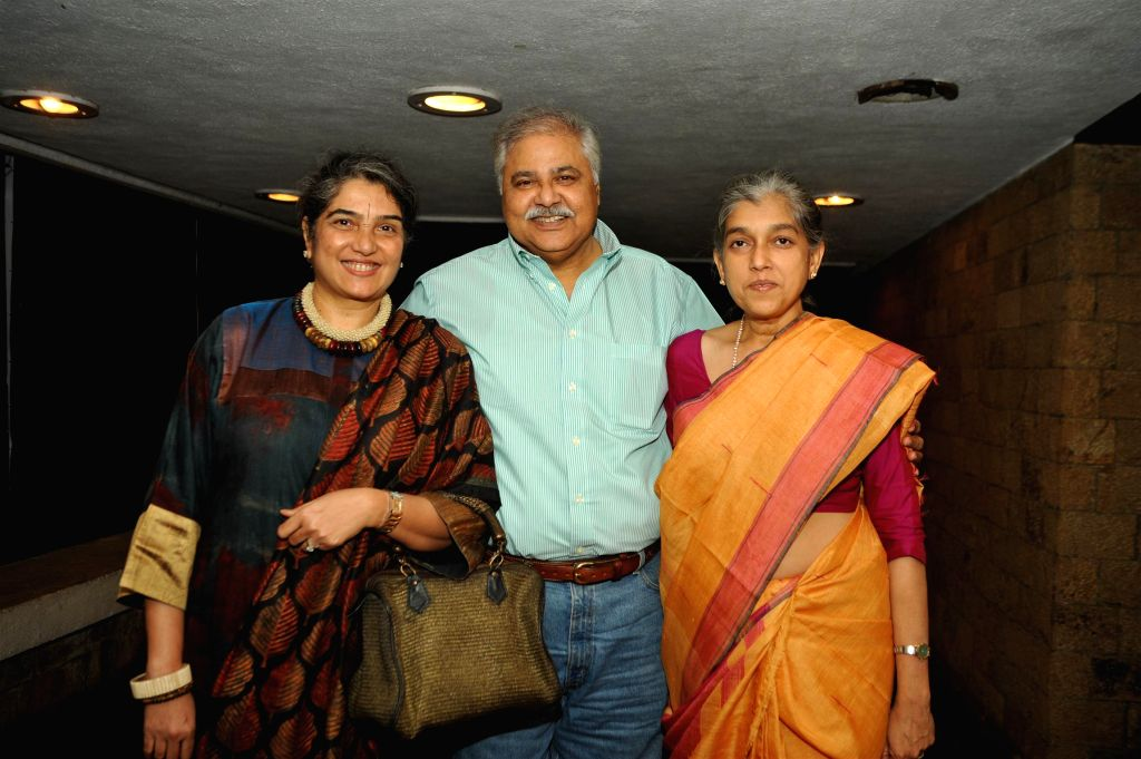 Actor Satish Shah with his wife, Madhu Shah and actor Ratna Pathak during the launch of Bollywood actor Naseeruddin Shah's book And Then One Day: A Memoir in Mumbai on Nov 26, 2014. - Satish Shah, Madhu Shah, Ratna Pathak and Naseeruddin Shah