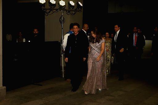 Mumbai: Actor Shah Rukh Khan and his wife Gauri Khan at actor Armaan Jain and Anissa Malhotra's wedding reception in Mumbai on Feb 4, 2020. (Photo: IANS) - Shah Rukh Khan, Armaan Jain and Anissa Malhotra