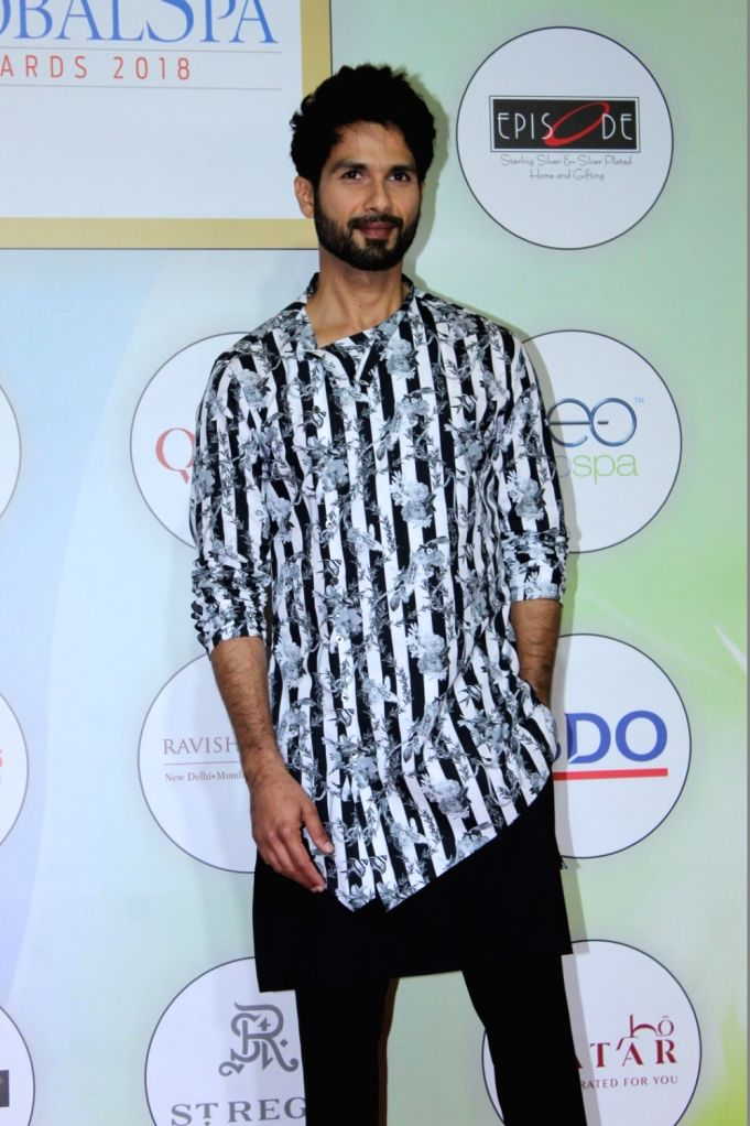 "Mumbai: Actor Shahid Kapoor at ""Global Spa Awards"" in Mumbai, on April 24, 2019. (Photo: IANS) - Shahid Kapoor"