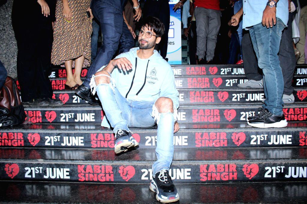 "Mumbai: Actor Shahid Kapoor at the screening of his upcoming film ""Kabir Singh"", in Mumbai on June 20, 2019. (IANS) - Shahid Kapoor and Kabir Singh"