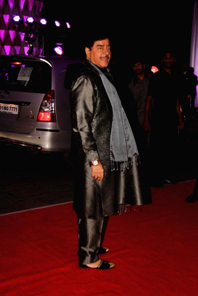 Actor Shatrugan Sinha during his son Kush wedding reception in Mumbai, on Jan. 19, 2015. - Shatrugan Sinha