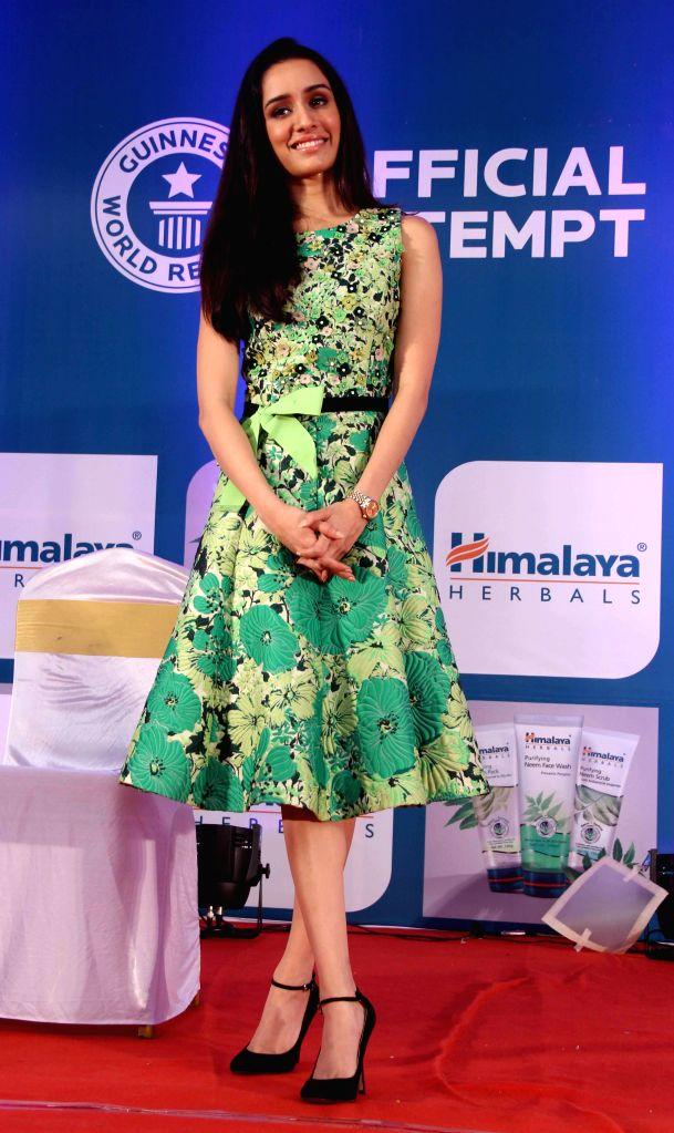 Actor Shraddha Kapoor at Himalaya Herbals attempt of Guinness Book of World Records for maximum facials in Mumbai on Saturday, November 29th, 2014.