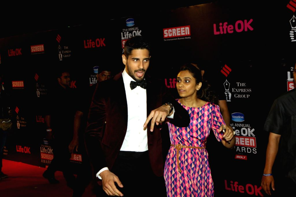 Actor Sidharth Malhotra during the 21st Annual Life OK Screen Awards in Mumbai on Jan. 14, 2015. - Sidharth Malhotra