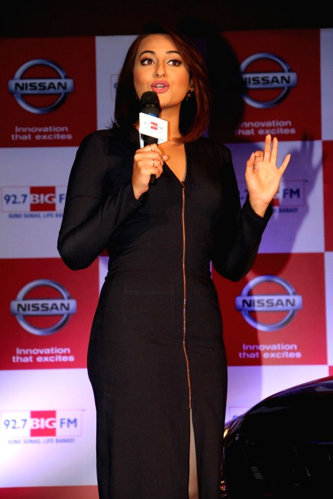 Actor Sonakshi Sinha during the partnership between Nissan Sunny Sedan and 92.7 Big FM wherein listeners will get to enjoy extra content, extra music the innovative campaign will go on air on ...