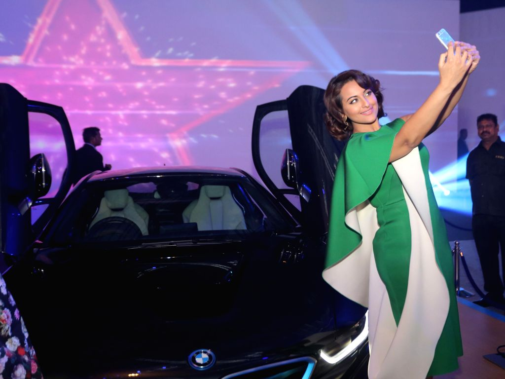 Actor Sonakshi Sinha during the launch of BMW i8 hybrid sports car in Mumbai on February 18, 2015. - Sonakshi Sinha